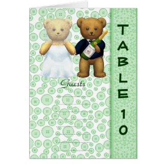 Table 10 number card Apple Teddy bear wedding peom