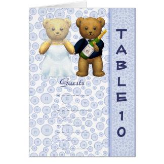 Table 10 number card Blue Teddy bear wedding peom