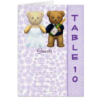 Table 10 number card Lilac Teddy bear wedding peom