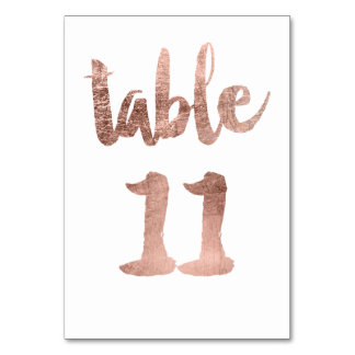 Table 11 Number rose gold typography wedding Table Cards