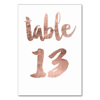 Table 13 Number rose gold typography wedding Table Cards
