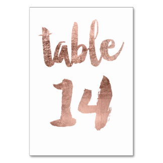 Table 14 Number rose gold typography wedding Table Card