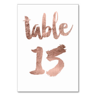 Table 15 Number rose gold typography wedding Table Cards