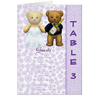 Table 3 number card Lilac Teddy bear wedding peom