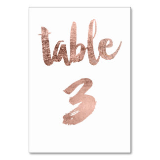 Table 3 Number rose gold typography wedding Table Cards
