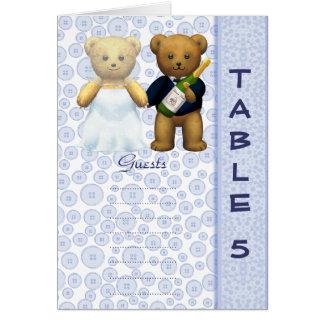Table 5 number card Blue Teddy bear wedding peom