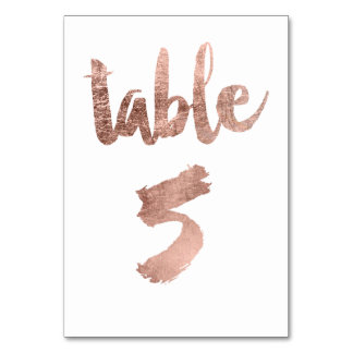 Table 5 Number rose gold typography wedding Table Cards
