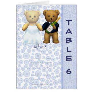 Table 6 number card Blue Teddy bear wedding peom
