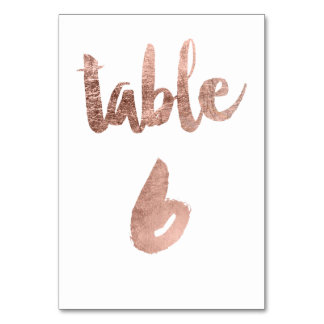 Table 6 Number rose gold typography wedding Table Cards