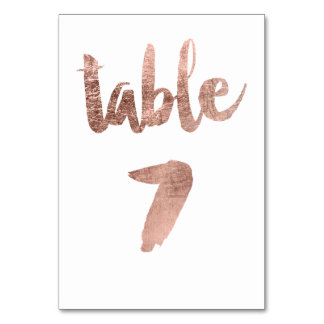 Table 7 Number rose gold typography wedding Table Cards