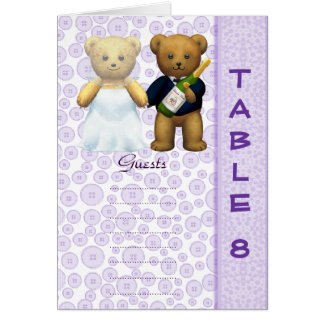 Table 8 number card Lilac Teddy bear wedding peom