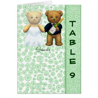 Table 9 number card Apple Teddy bear wedding peom