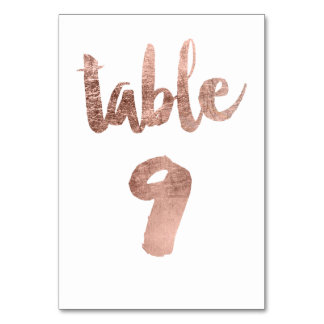 Table 9 Number rose gold typography wedding Table Card