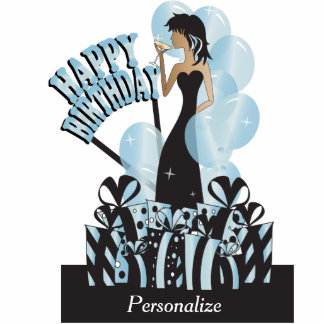 Table/Cake Topper-Happy Birthday Girl- Aquamarine Cut Outs