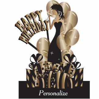 Table/Cake Topper- Happy Birthday Girl - Bronze Acrylic Cut Outs