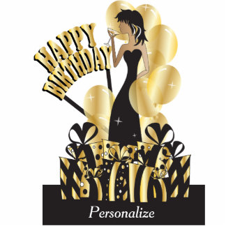 Table/Cake Topper- Happy Birthday Girl - Gold Photo Cut Outs