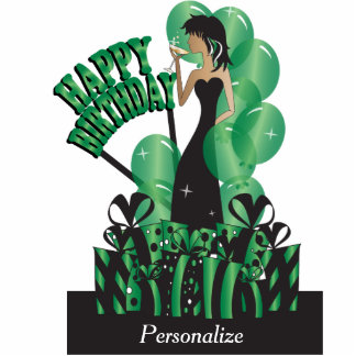 Table/Cake Topper- Happy Birthday Girl - Green Photo Cutout