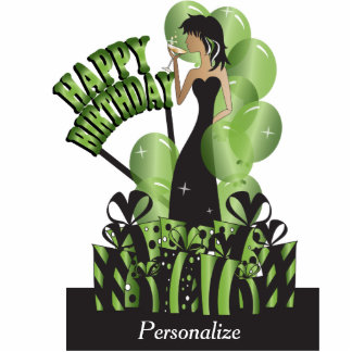 Table/Cake Topper-Happy Birthday Girl- Peridot Photo Cut Outs