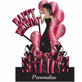 Table/Cake Topper- Happy Birthday Girl - Ruby Photo Cutouts