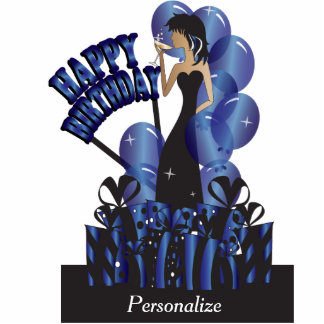 Table/Cake Topper-Happy Birthday Girl- Sapphire Photo Cutout
