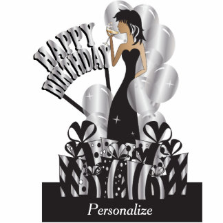 Table/Cake Topper-Happy Birthday Girl- Silver Acrylic Cut Outs