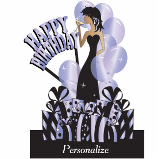 Table/Cake Topper-Happy Birthday Girl- Tanzanite Cut Outs