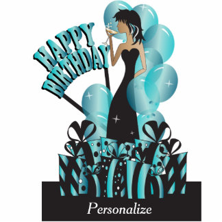Table/Cake Topper-Happy Birthday Girl- Turquoise Acrylic Cut Out