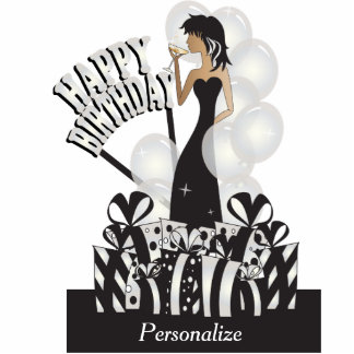 Table/Cake Topper-Happy Birthday Girl- White Pearl Photo Sculptures