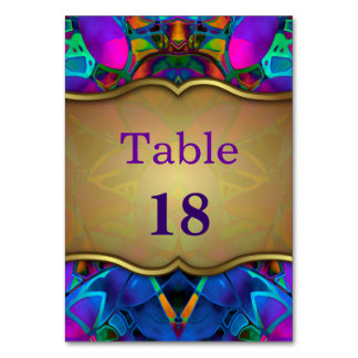 Table Card Floral Fractal Art