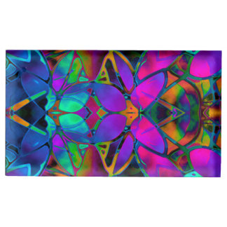 Table Card Holder Floral Fractal Art