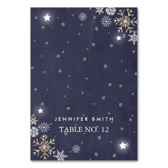 Table card Winter snowflakes Gold Silver Navy