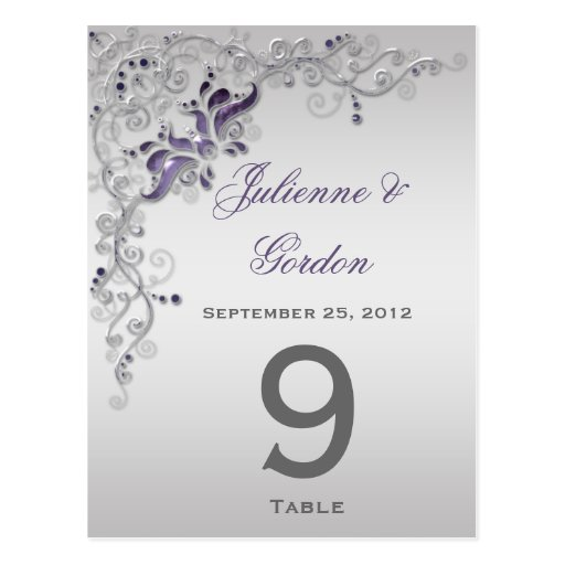 Table Cards Ornate Purple Silver Floral Swirls Postcards