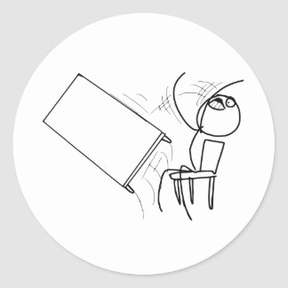 Table Flip Flipping Rage Face Meme Classic Round Sticker