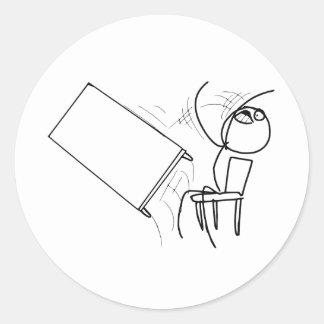 Table Flip Flipping Rage Face Meme Round Sticker