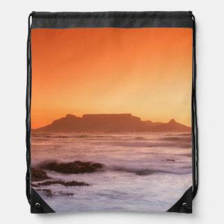Table Mountain At Sunset, Bloubergstrand Drawstring Bag