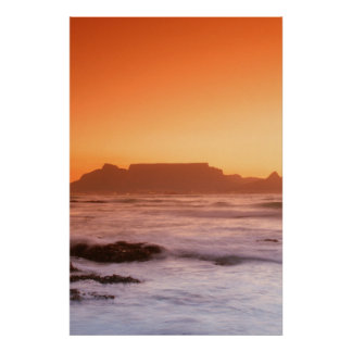 Table Mountain At Sunset, Bloubergstrand Poster