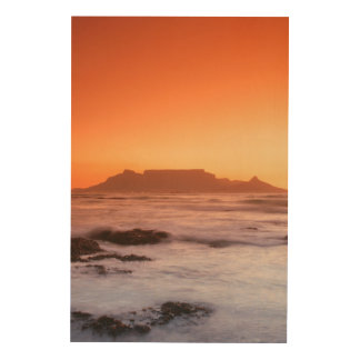 Table Mountain At Sunset, Bloubergstrand Wood Wall Art