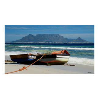 Table Mountain & fishing boats, Cape Town, RSA Poster