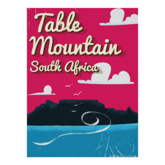 Table Mountain South Africa Vintage travel poster