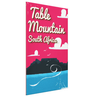 Table Mountain South Africa Vintage travel poster Canvas Print