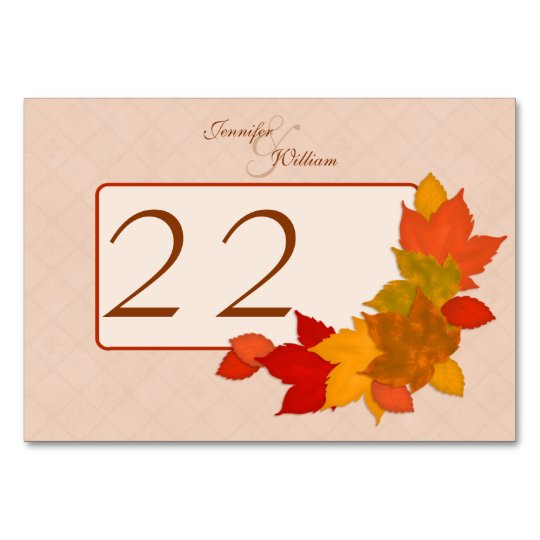 Table Number Beautiful Rustic Fall Autumn Leaves