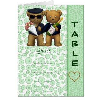 Table number Blank Apple Teddy bear wedding peom Cards