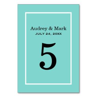 Table Number Card | Aqua Blue Table Card