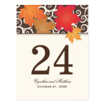 Table Number Card   Autumn Leaves Theme Postcard