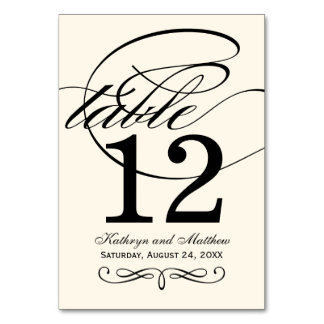 Table Number Card | Black Ivory Calligraphy Design