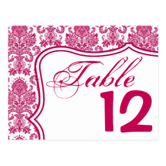 Table Number Card Fusia White Damask Lace Print Pa Postcard