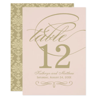 Table Number Card | Gold Calligraphy Design 11 Cm X 16 Cm Invitation Card