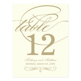 Table Number Card | Gold Calligraphy Design Postcard