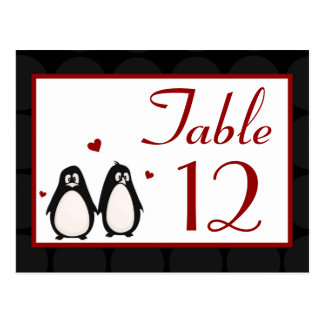 Table Number Card Penguin Love Couple Mate for Lif