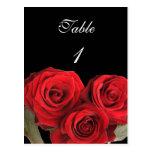 Table Number Card Red Rose Black